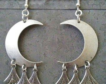 Crescent Moon Earrings Stevie Nicks Inspired  Jewelry Antique Silver Art Deco  Bohemian  Earrings Gypsy BOHO By Red Gypsy Jewelry