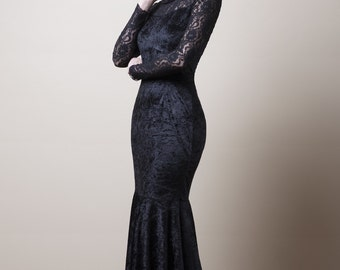 Black Velvet and Lace Mermaid Dress-Made to order