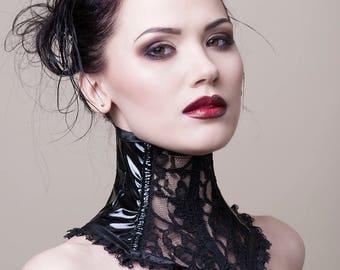 Black PVC & Lace Neck Corset