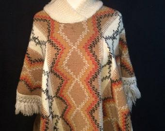 1970s Vintage Blanket serape earth tones poncho SOUTHWEST style woven fringe CAPE