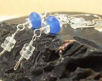 Blue Earrings, Purple Earrings, Glass Crystal Earrings, Aquamarine Gemstone Earrings, Clear, Sterling Silver Earrings, Lightweight Earrings