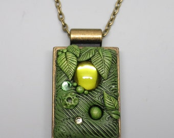 Green Leaf Pendant Necklace, Polymer Clay with Vintage Olive Cabochon in Antique Brass Bezel