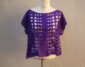 80s cut out top / purple silk scarf tunic / cut away, off the shoulder, boat neck, new wave punk, see through tee, one size med sm lg