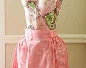 Vintage Pink Chicken Scratch Half Apron Pink Gingham Half Apron For Women Hand Embroidery