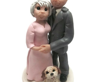Custom cake topper, Older Couple wedding cake topper, Bride and Groom with dog cake topper, Mr and Mrs cake topper, personalized cake topper