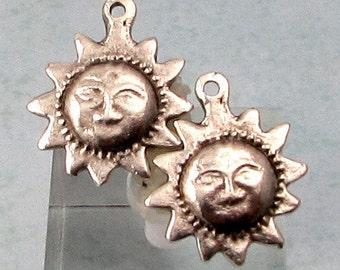 Sun Charm, Antique Silver, Greek Casting, 2-Pc. M471