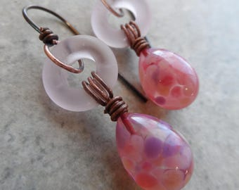 Rose Petals ... Petite Artisan-Made Lampwork Ring, Lampwork Headpin and Copper Wire-Wrapped Boho, Spring, Floral, Garden, Easter Earrings