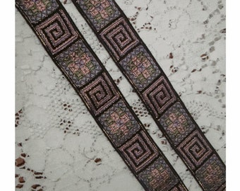 Ancient Look GREEK KEY and SYMBOLS Vintage French Jacquard Ribbon - Metallic Gold Accents