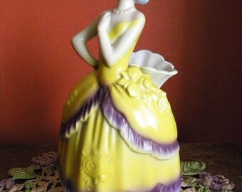 Antique 1920's Spill Vase with Flapper Girl in Yellow Dress Germany