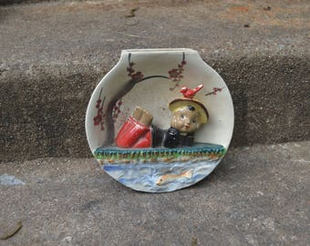 Vintage Mid Century Fishbowl Shaped Wall Pocket Asian Boy Relaxing by a Pond