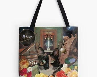 Tote Bag - Libra StarCat - zodiac astrological collage art for the cat lover