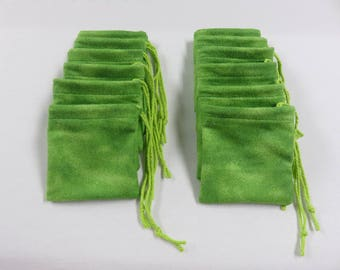 "Set of 12, 3"" x 3"" Green Flannel Cotton Hoo Doo / Mojo Bags / Jewelry Pouches"