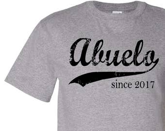 Abuelo since ANY year, mens t shirt, Father's Day gift, personalized for him, dad tshirt, screen print t-shirt, graphic tee
