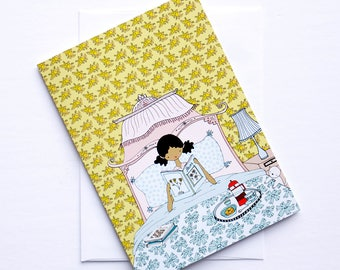 Greeting card - Les petites - breakfast in bed - cara carmina - dolls illustration - illustration - 5x7""