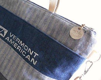 Lumber apron, selvedge denim zipper crossbody tote bag, satchel - Vermont American - eco vintage fabrics