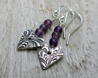 Silver Heart Earrings Amethyst Gemstone Earrings PMC Jewelry Arrow Earrings Gift for Valentine February Birthstone Jewelry Gift Under 40