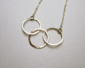 3 Silver Circle Necklace, Argentium Sterling Silver Jewelry Interlocked Circles Ring Necklace, Hammered Circle Necklace, Gift for Sisters