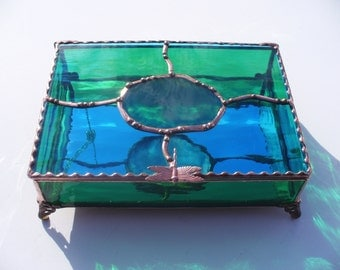 Dragonfly Agate Keepsake Box, OOAK Gift, Gift for Men and Women, Stained Glass Box, Agate Inlay, Your Choice of Handle