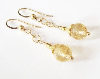 Citrine Earrings, Golden Yellow Honeycomb Facets, Citrine Gemstone Beads, Goldfilled Earrings,  Flower Bud Bead Caps