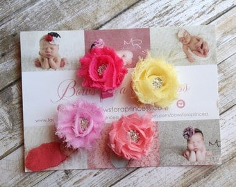 Hot Pink, Yellow, Pink & Coral Mini Shabby Flowers Toddler Baby Girl Clips