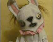 Easter Bunny mask Rabbit spooky Doll Whimsical white pink creepy cute country decor spring Gothic cottage chic Farm Quirky Primitive home