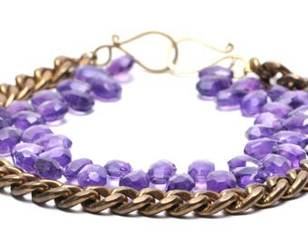 Rustic Vintage Brass Chain and Amethyst Chunky Statement Necklace OOAK
