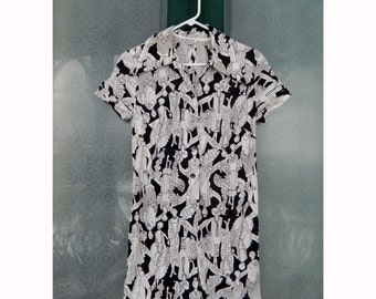 Willow Street NY Vintage Mod Shortalls Romper with Skirt in Black & White Glam Print