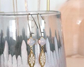 Opal Pink Earrings - Vintage Style Earrings - Lilac Earrings - Opal Glass - Art Deco Drops - Manila Earrings (SD0738)