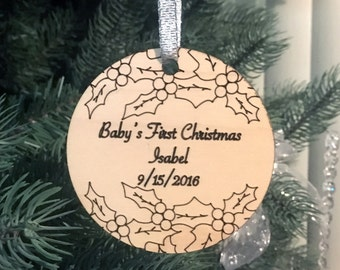 Personalized Christmas Ornament, Baby's First Christmas, Holiday Ornament, Baby Ornament, Christmas Tree Decoration, Holly Ornament, Newborn