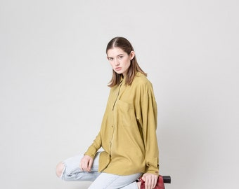 OVERSIZE SILK BLOUSE yellow green Chartreuse vintage Long Sleeves minimal colorful women Spring / Medium / better stay together