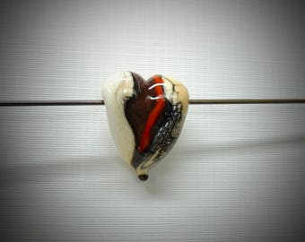 Heart in Ivory and Red lampwork bead focal by Diane zelia Designs SRA