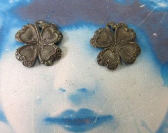 Hand Oxidized Patina Brass Four Leaf Clover Shamrock Charms 388HOX x2