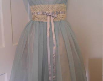 Vintage light blue formal gown