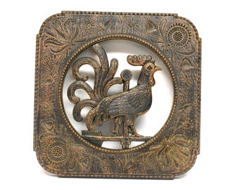 Large Rooster Weathervane Wall Plaque with Dark Copper Finish by Dart Industries 1968