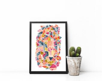 Triangles and lines landscape Art Print