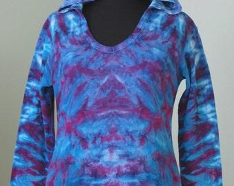 Tye dye, XL woman's thermal hoodie, tiedye by grateful dan, ice dye, inkblot ice dye, trippy tie dye