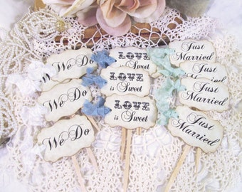 Wedding Cupcake Toppers Party Picks - Bridal Mix - Just Married We Do Love is Sweet - Set of 12 or 18- Choose Ribbons - Rustic Vintage Style