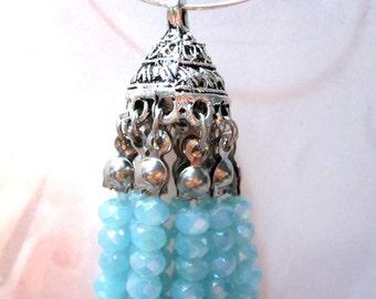 50% Off Beaded Tassel Aqua Blue and Antique Silver, Crystal Tassel Boho Chic trendy jewelry supplies Jewelry Tassel TAS01123 J16