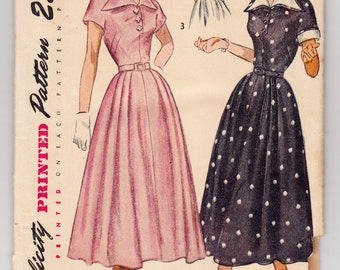 Vintage Sewing Pattern Ladies 1940's Dress Simplicity 2878 32 Bust - Free Pattern Grading E-book Included
