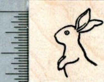 Tiny Bunny Rabbit Rubber Stamp, Upright Facing Left A31801 Wood Mounted