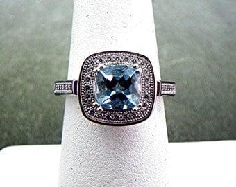 AAAA Santa Maria Aquamarine   7x7mm  1.35 Carats   in 14K White gold diamond (.30) ring. MMM