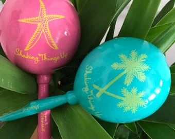 Maracas (many available in your choice of colors) Starfish and Palm trees Wedding personalized design custom with your names and date