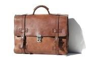 Vintage ITALIAN Wyn-wood Brown Leather Briefcase