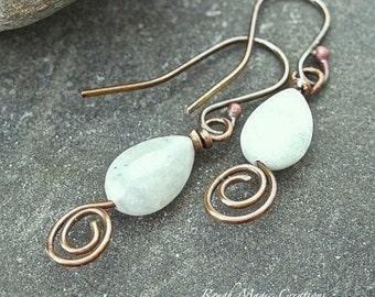 Aquamarine Earrings, Antiqued Copper, Light Green Earrings, Real Stone, Genuine Gemstone Teardrops, Handmade Gift, March Birthstone E288