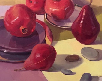 "Art painting fruit pomegranate still life ""River Stones and Reds"" original oil by Sarah Sedwick 16x16"""