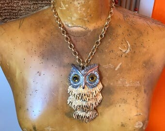 Owl Necklace // Silver and Gold Pendant // 1970s Jewelry // Boho Chic // Bohemian // Articulated // Hippie Clothes // Festival Clothing