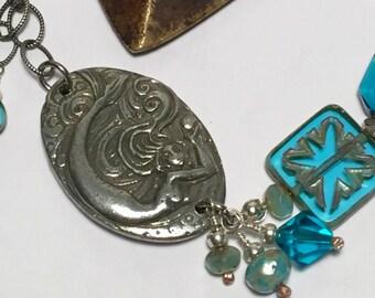 Mermaid Bracelet with Pewter Crystal Gemstone Abalone Beads