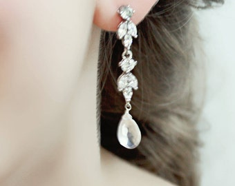 Long Rhinestone and Rose Quartz Wedding, Bridal, Bridesmaid Earrings