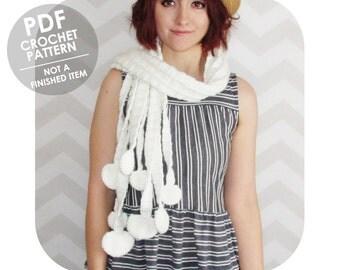 crochet pattern - enoki mushroom scarf - food scarf - unique crochet scarf - crochet mushroom scarf