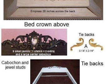 Bed crown for DIY,unpainted w/tie backs and jewels,canopy crown, bed teester